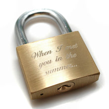 Load image into Gallery viewer, Brass engraved love padlock