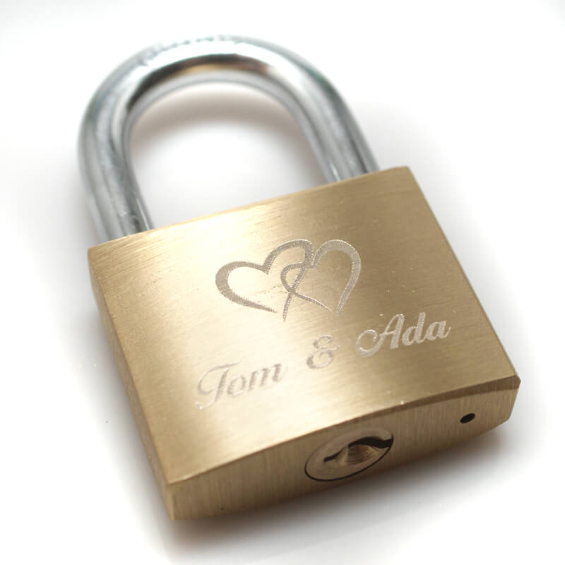 Brass engraved love padlock