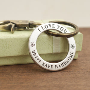 Drive Safe Keychain ring