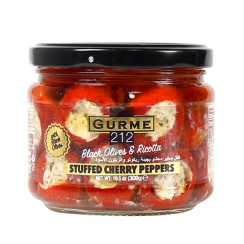 Gurme 212 Ricotta Cheese Stuffed Cherry Peppers With Black Olives 300gr