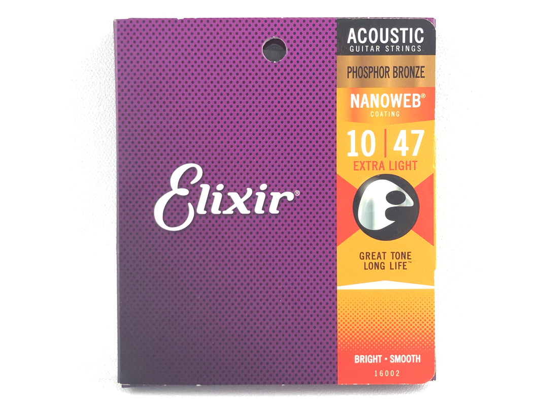 Elixir 16002 Nanoweb Phosphor Bronze Acoustic Guitar Strings 10-47