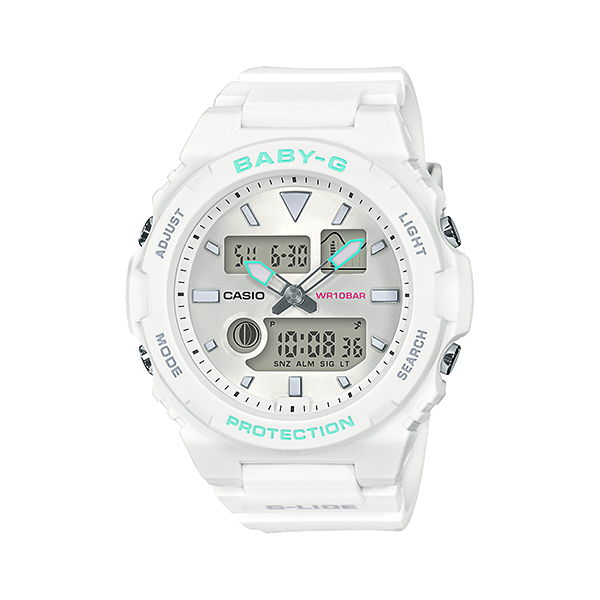 Casio Baby-G  White Mint Green Tide Graph Surfing Ladies Watch G-LIDE BAX-100-7A