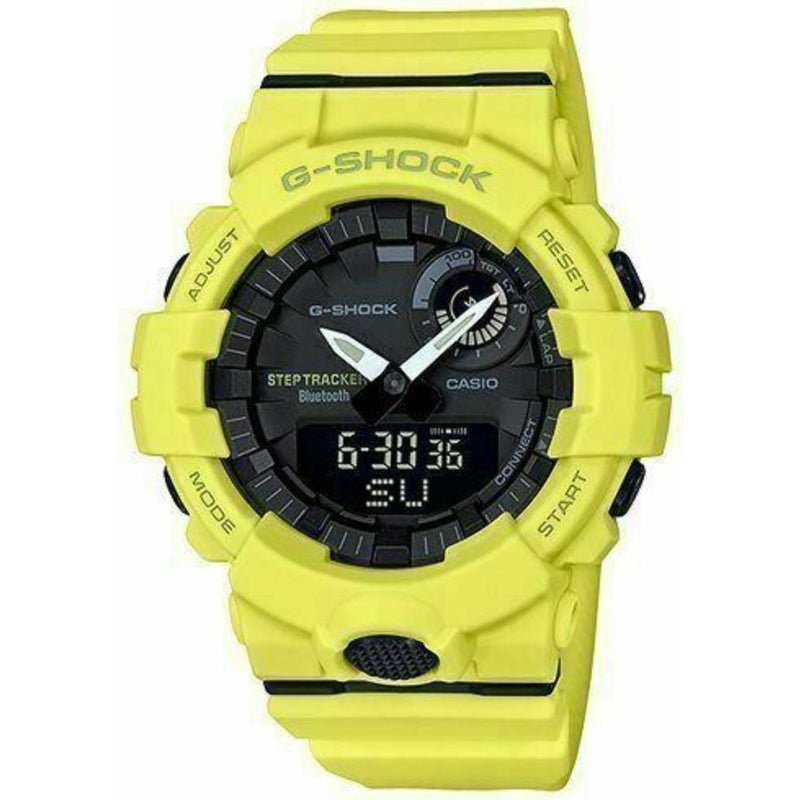 New Casio G-Shock Analog-Digital Step Tracker Yellow Resin Strap Watch GBA800-9A