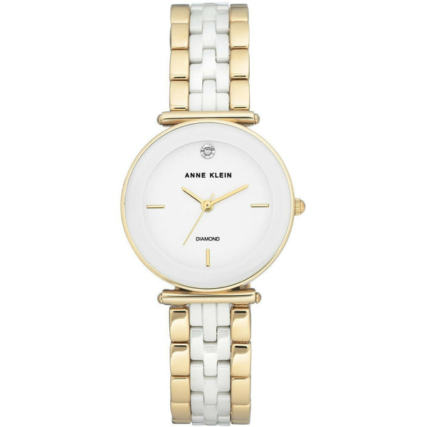 Anne Klein Women's Genuine Diamond Ceramic Bracelet Watch, White Dial 3158-WTGB