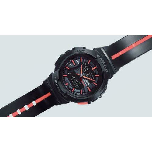 CASIO BABY-G,BGA-240L-1A, RUNNING LINE, ANALOG-DIGITAL, BLACK ORANGE