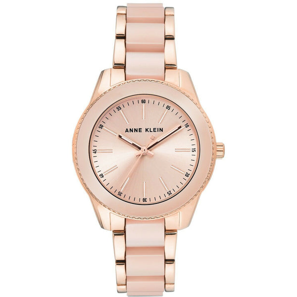 Anne Klein Women's Resin Bracelet Watch light pink sunray dial, 3214-LPRG