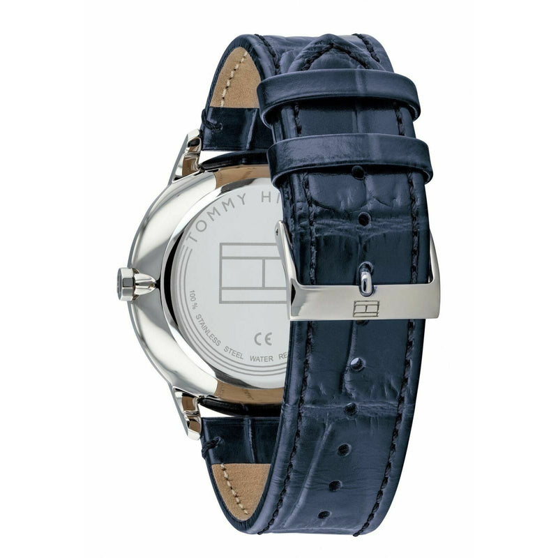 Tommy Hilfiger Men's SS Quartz Watch with Leather Crocodile Strap 1710387