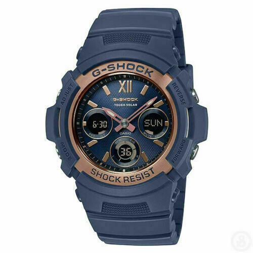 Casio Original G-Shock Navy and Rose Gold Watch AWRM100SNR-2A One year warranty