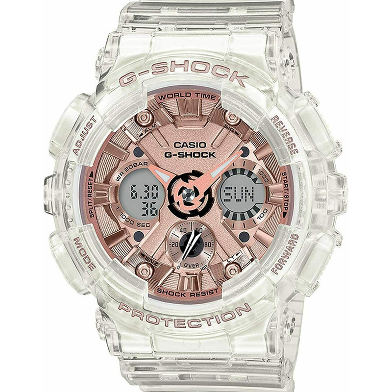 Authentic Casio G-Shock Women's Transparent Rose Gold Dial Watch GMAS120SR-7A