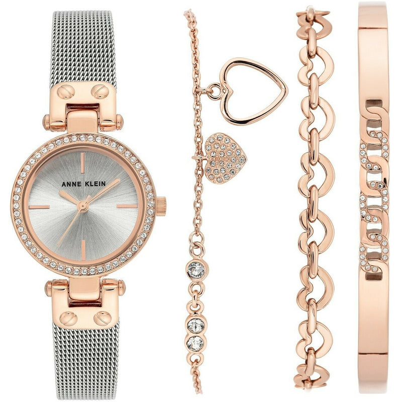 Anne Klein Women's Swarovski Crystal Two Tone Mesh and Bracelet Set 3425RTST