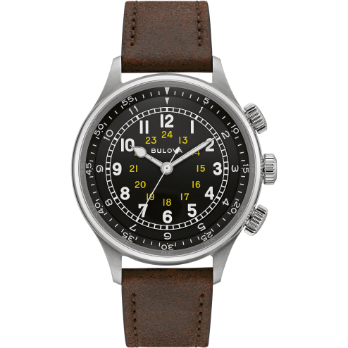 Bulova Men's A-15 Pilot Automatic Stainless Steel/Brown Leather Watch 96A245