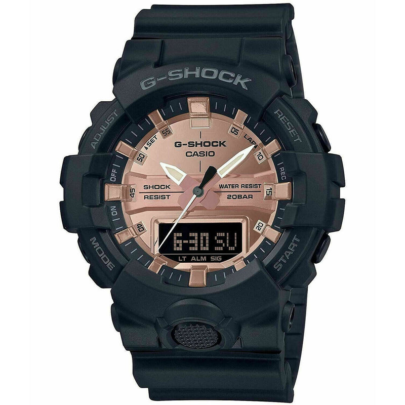 Casio GA800MMC-1A Men's Black Ana-Digi Rose Dial Alarm Chronograph G Shock Watch