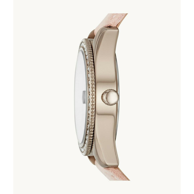 Fossil Three-Hand Date Blush Leather Watch and Bracelet Box Set ES4607 SET