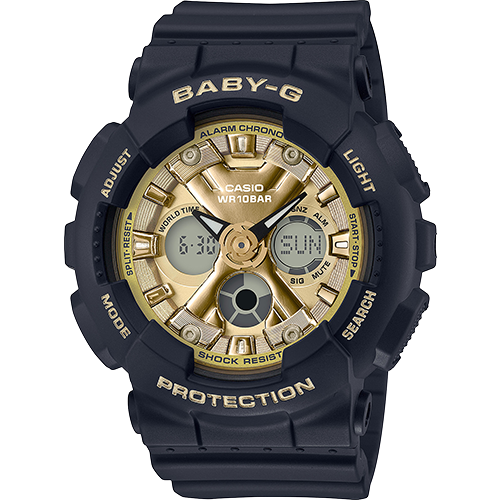 BRAND NEW CASIO BABY-G BA130-1A3 ANA-DIGI BLACK/GOLD WOMAN'S WATCH NWT!