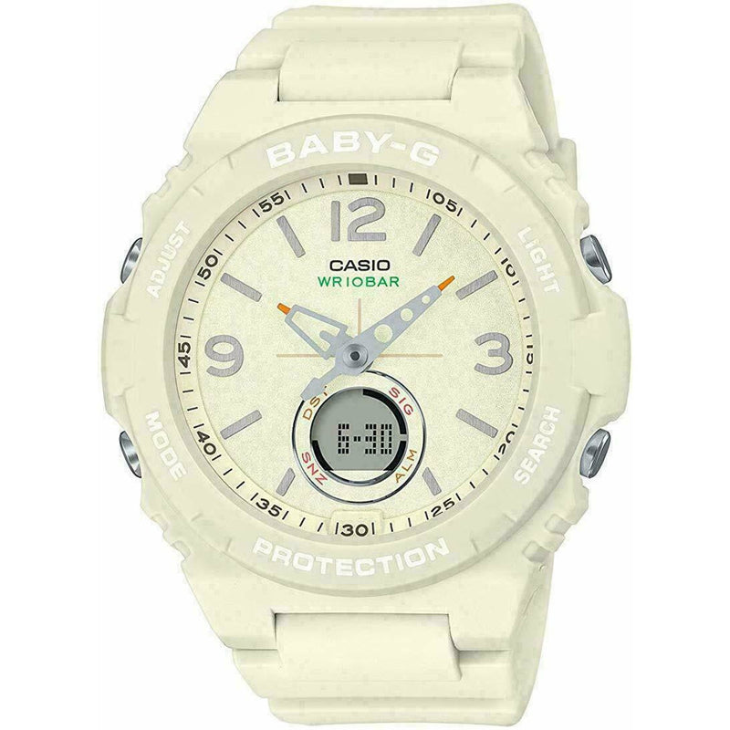 NEW BABY-G BGA-260-7A VINTAGE OUTDOOR COLOR WHITE ANA-DIGITAL LADIES WATCH