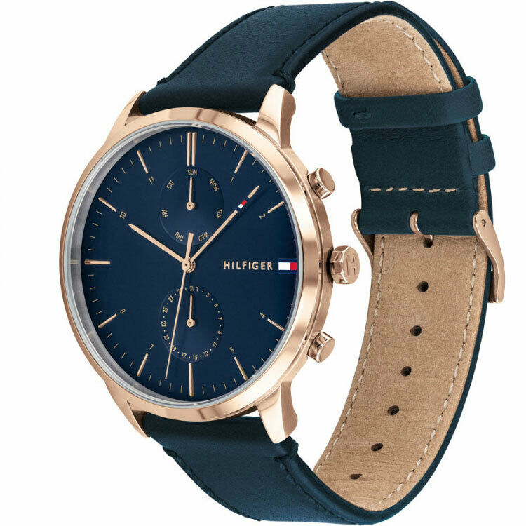 Tommy Hilfiger Men's Analogue Quartz Watch with Leather-Calfskin Strap 1710405