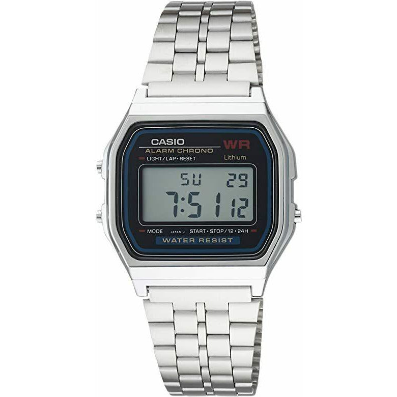 Casio A159WN-1 Men's Classic Stainless Steel Digital Watch Vintage Retro
