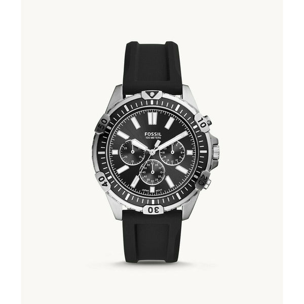 Fossil Garrett Chronograph Black Silicone Watch FS5624