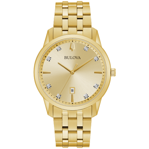 Bulova 97D123 Men's Watch Diamond Dial Gold Tone Watch 40mm