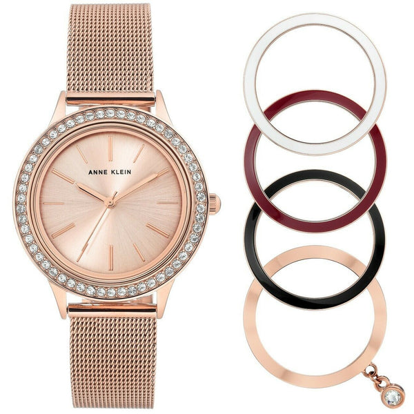 Anne Klein Women's Swarovski Crystal Watch and Interchangeable Bezel Set3166INST