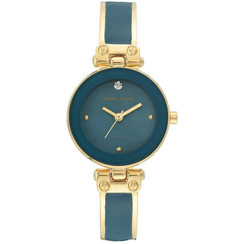 Anne Klein Women's Diamond-Accented Bangle Watch Blue and Gold AK1980BLGB