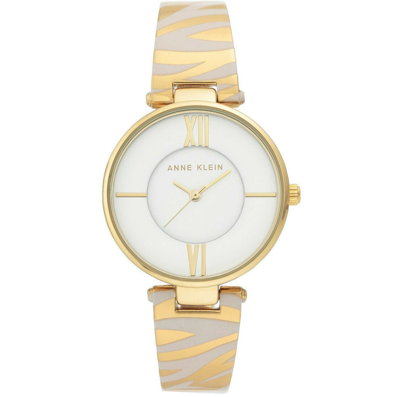 Anne Klein Women's Gold-Tone and White Zebra Patterned Bangle Watch, 3532-WTZE