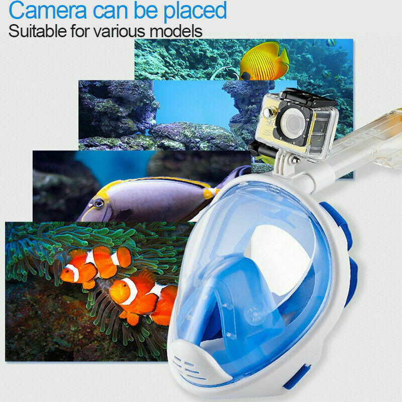 Full Face Mask Swimming Underwater Diving Snorkel Scuba For GoPro Glass Anti-Fog