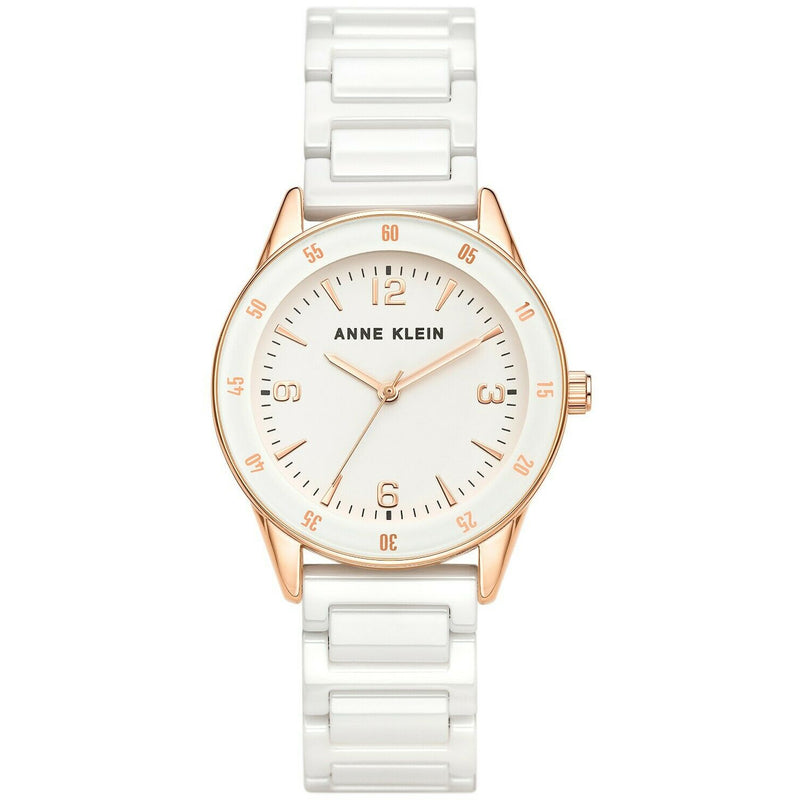 Anne Klein Women's Ceramic Bracelet Watch, 3658-RGWT