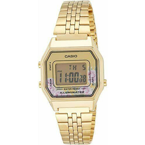 Casio LA680WGA-4C Women's Vintage Mid-Size Retro Gold Tone Alarm Digital Watch