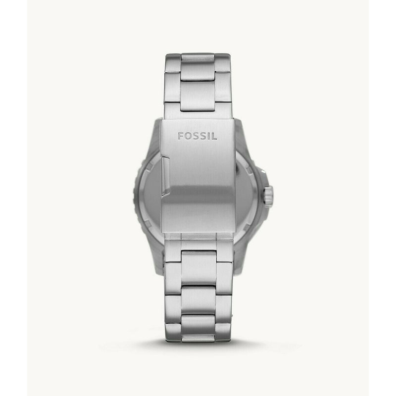 FOSSIL DIVER FS5657 STAINLESS BRACELET BLACK DIAL WITH DATE WINDOW 2 COLOR BEZEL