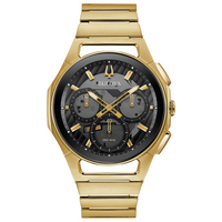 Bulova Curv 97A144 Men's Stainless Steel Chronograph Watch - Gold Tone