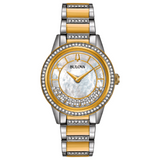 Bulova Women's 98L245 TurnStyle Crystal Accent Two-Tone Bracelet 32.5mm Watch