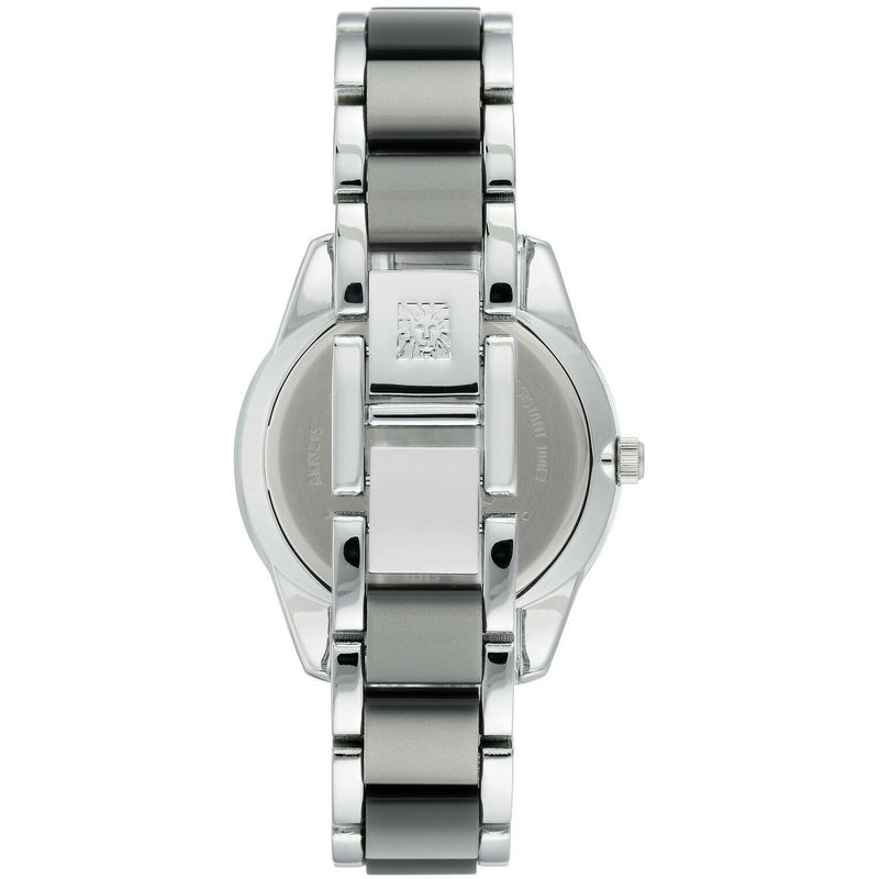 Anne Klein Women's Resin Bracelet Watch,Grey glossy dial silver hands, 3215-GYSV