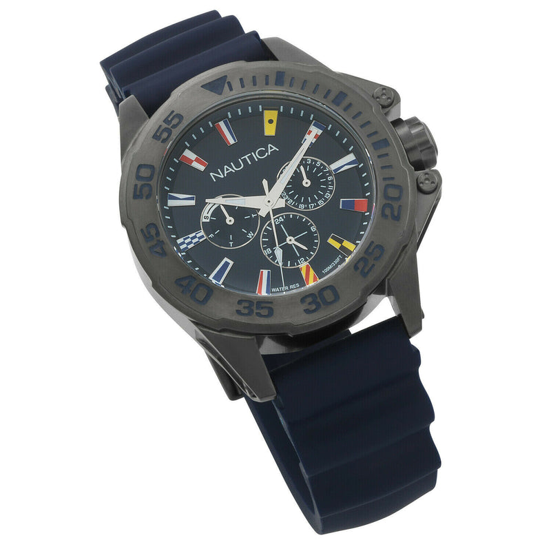 Nautica Watch NAPMIA004, Analog, Water Resistant, Blue Silicone Band, Navy Dial