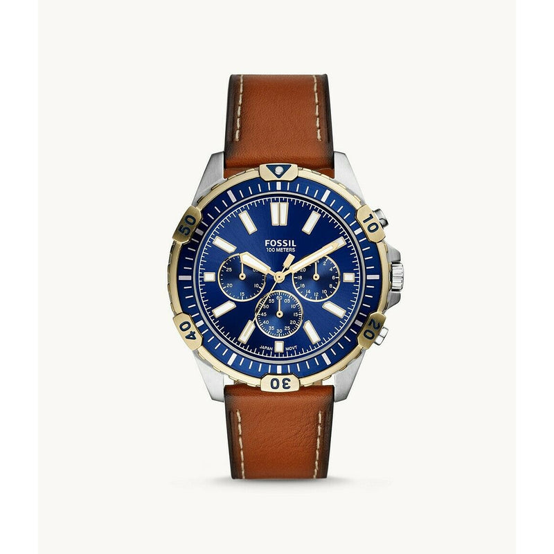 FOSSIL Garrett Chronograph Luggage Leather Watch FS5625 - Retail $129.00