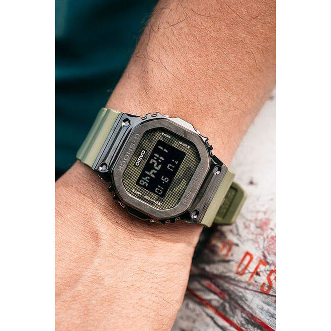 New Casio G-Shock Black Ion-Plated Metal Bezel Camo Dial Steel Watch GM5600B-3