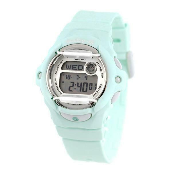 Casio Baby-G BG-169R-3D Pastel Green Resin Strap Digital Alarm Ladies Watch Baby G-Shock Watchgalactic