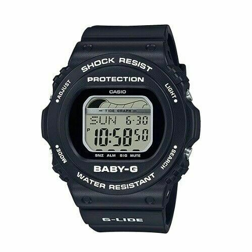 Casio Baby-G BLX-570-1D G-Lide Digital Black Resin Strap Alarm Ladies Watch Baby G-Shock Watchgalactic