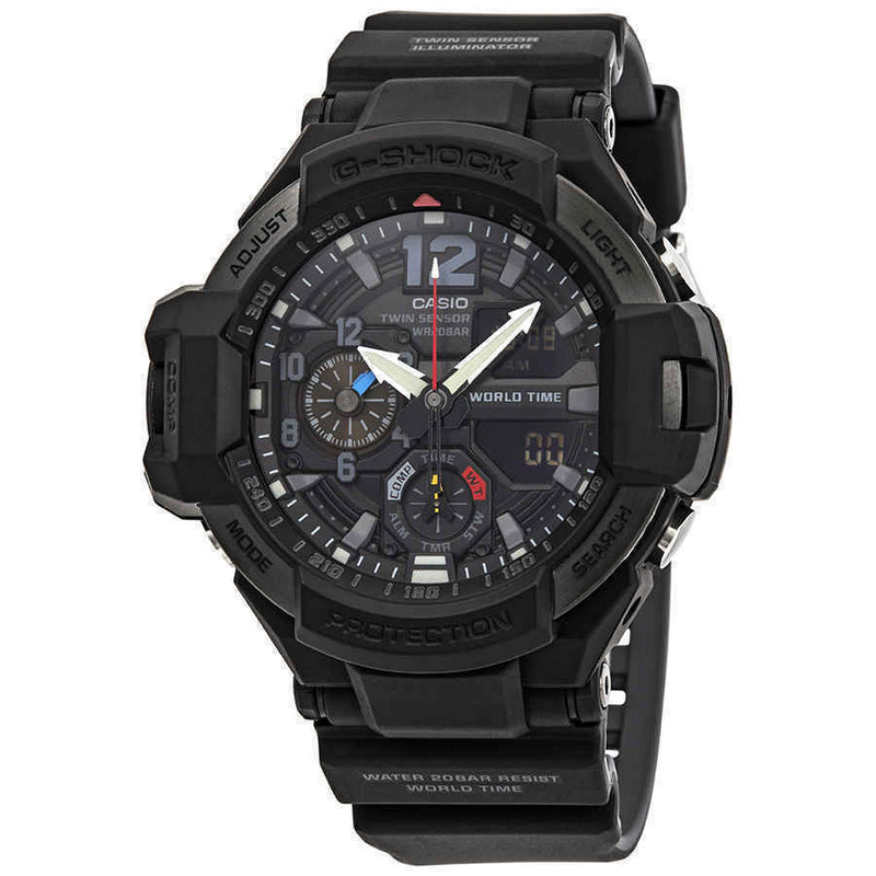 Casio G-Shock Gravitymaster Alarm World Time Black Dial Men's Watch GA1100-1A1 G-Shock Watchgalactic