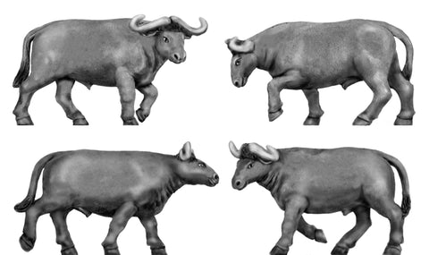 (100ANM27) Water Buffalo set of 4