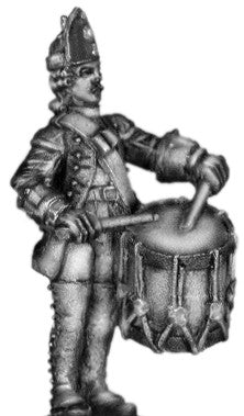 (100AOR108a) 1756-63 Saxon Fusilier Drummer, at attention