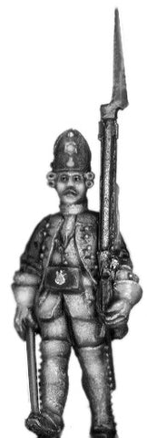 (100AOR109) 1756-63 Saxon Fusilier Sgt. with musket, marching