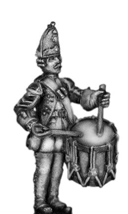 (100AOR113a) 1756-63 Saxon Grenadier Drummer, at attention