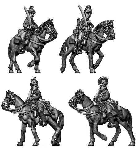 (100AOR033) Uniformed Continental Dragoons at rest (4 figure set)