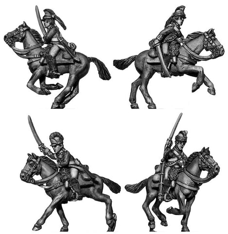 (100AOR034) Uniformed Continental Dragoons charging (4 figure set)