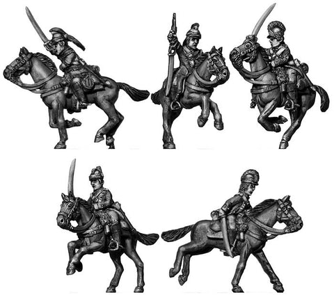 (100AOR039) Ragged Continental Dragoon charging (5 figure set)