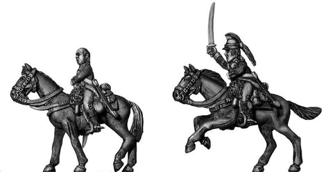 (100AOR040) Ragged Continental Dragoon Command Set, at rest (3 figure set)