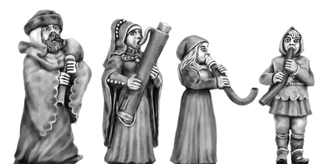 (100CIV61) NEW Medieval Wind Instruments 4 figures