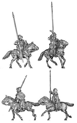 (100CON11b) Conquistadores Armoured Cavalry on barded horses