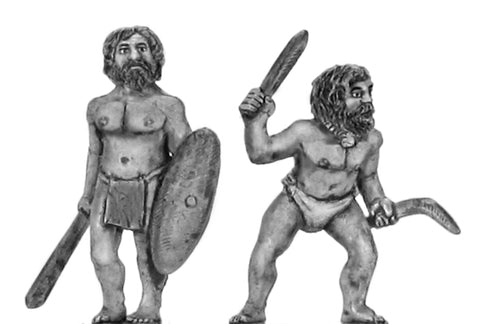 (100DEN002) Denisovan Hero, Chaps eith club & shield, man with necklace